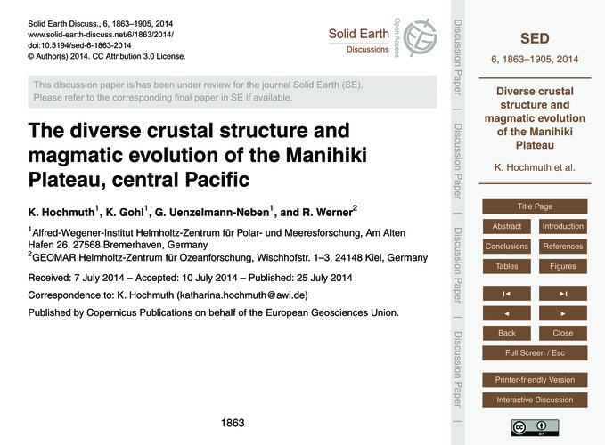 The Diverse Crustal Structure and Magmat... by Hochmuth, K.