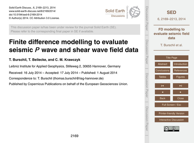 Finite Difference Modelling to Evaluate ... by Burschil, T.
