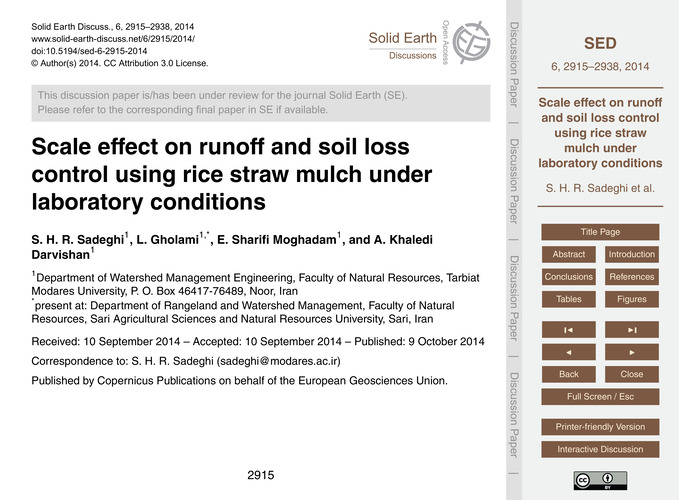 Scale Effect on Runoff and Soil Loss Con... by Sadeghi, S. H. R.
