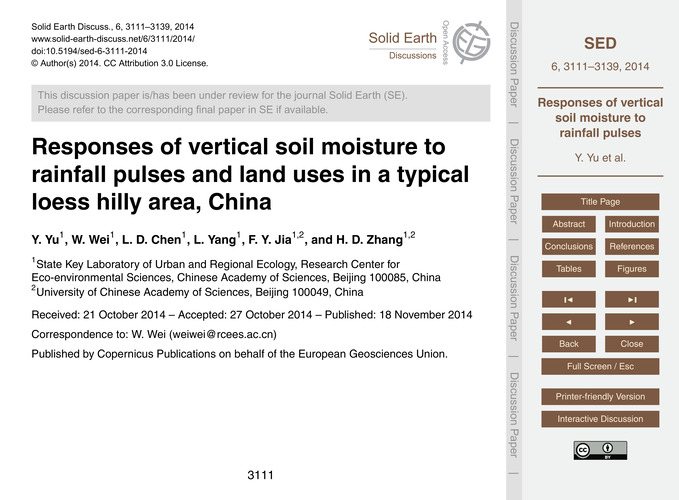 Responses of Vertical Soil Moisture to R... by Yu, Y.