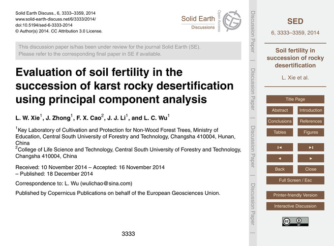 Evaluation of Soil Fertility in the Succ... by Xie, L. W.