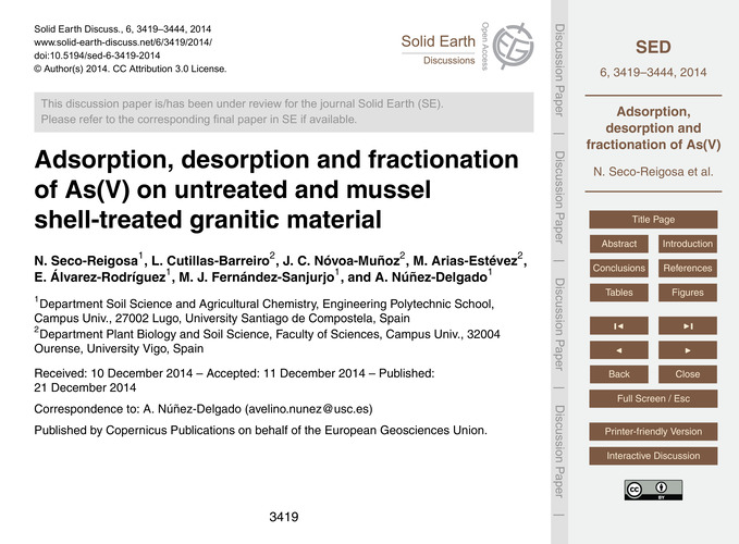 Adsorption, Desorption and Fractionation... by Seco-reigosa, N.