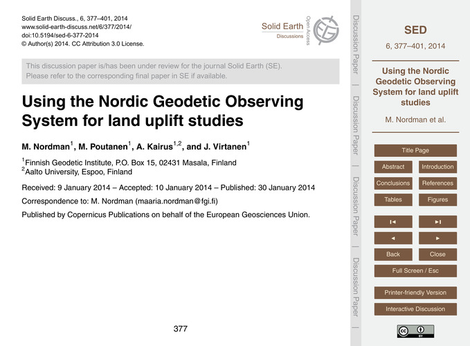 Using the Nordic Geodetic Observing Syst... by Nordman, M.