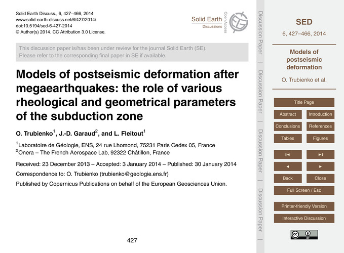 Models of Postseismic Deformation After ... by Trubienko, O.