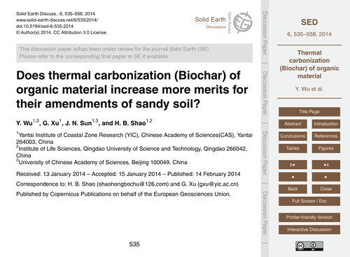 Does Thermal Carbonization (Biochar) of ... by Wu, Y.