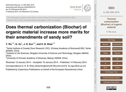 Does Thermal Carbonization (Biochar) of ... by Wu, Y.