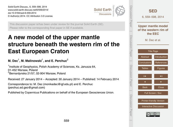 A New Model of the Upper Mantle Structur... by Dec, M.