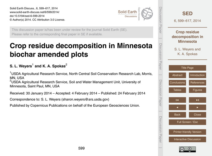 Crop Residue Decomposition in Minnesota ... by Weyers, S. L.