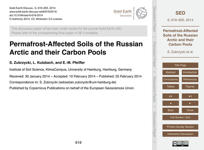 Permafrost-affected Soils of the Russian... by Zubrzycki, S.