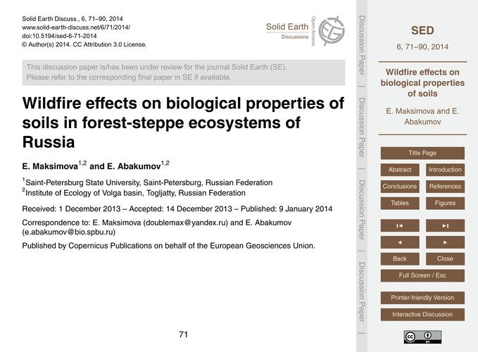 Wildfire Effects on Biological Propertie... by Maksimova, E.