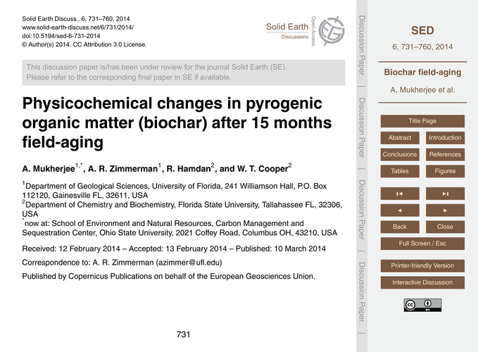 Physicochemical Changes in Pyrogenic Org... by Mukherjee, A.