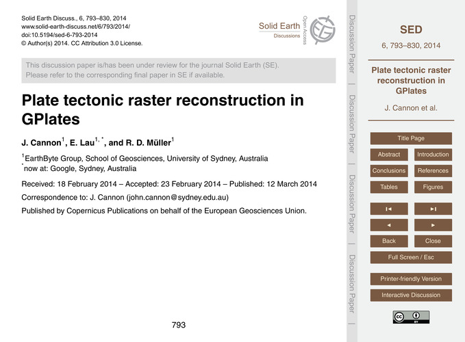 Plate Tectonic Raster Reconstruction in ... by Cannon, J.