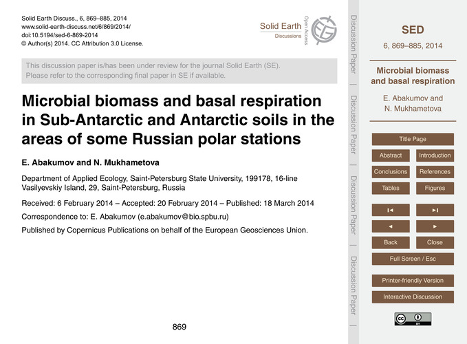 Microbial Biomass and Basal Respiration ... by Abakumov, E.
