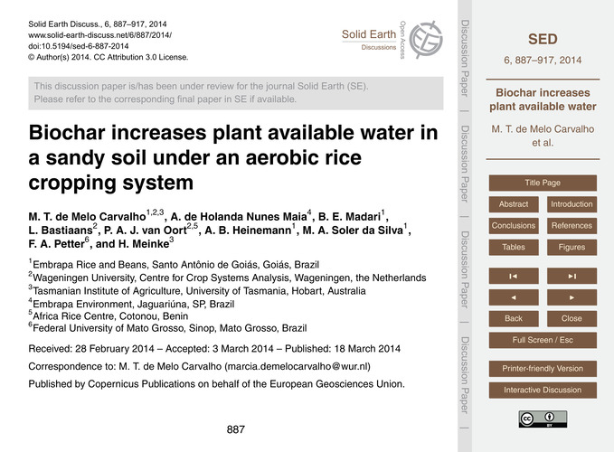 Biochar Increases Plant Available Water ... by De Melo Carvalho, M. T.