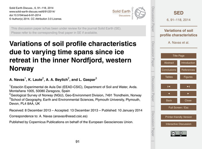 Variations of Soil Profile Characteristi... by Navas, A.