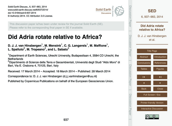 Did Adria Rotate Relative to Africa? : V... by Van Hinsbergen, D. J. J.