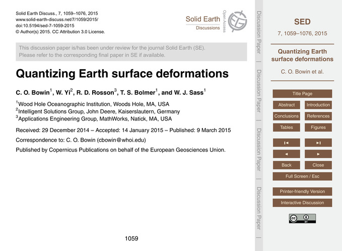 Quantizing Earth Surface Deformations : ... by Bowin, C. O.
