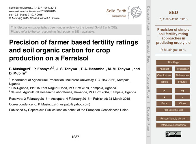 Precision of Farmer Based Fertility Rati... by Musinguzi, P.