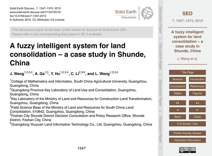 A Fuzzy Intelligent System for Land Cons... by Wang, J.