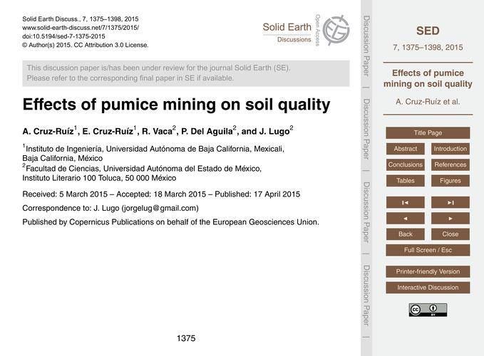Effects of Pumice Mining on Soil Quality... by Cruz-ruíz, A.