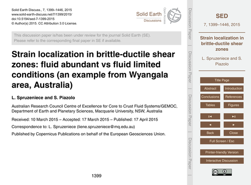 Strain Localization in Brittle-ductile S... by Spruzeniece, L.