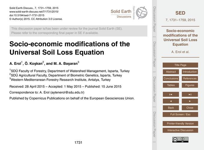 Socio-economic Modifications of the Univ... by Erol, A.
