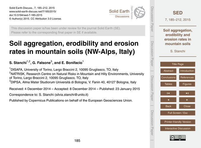 Soil Aggregation, Erodibility and Erosio... by Stanchi, S.