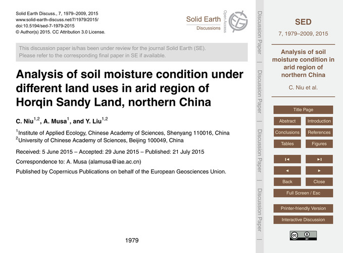 Analysis of Soil Moisture Condition Unde... by Niu, C.