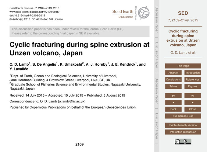 Cyclic Fracturing During Spine Extrusion... by Lamb, O. D.
