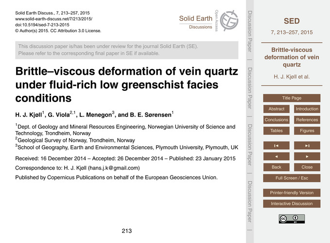 Brittle–viscous Deformation of Vein Quar... by Kjøll, H. J.