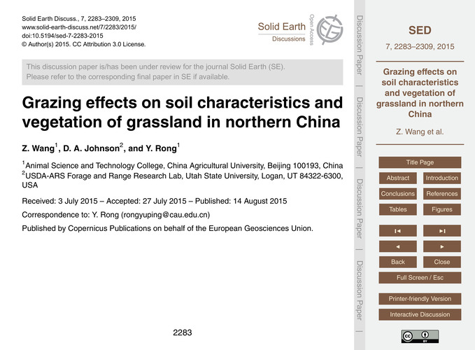 Grazing Effects on Soil Characteristics ... by Wang, Z.