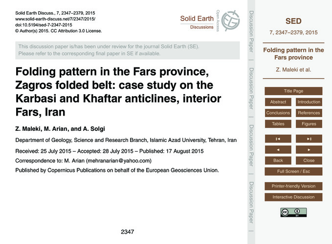 Folding Pattern in the Fars Province, Za... by Maleki, Z.