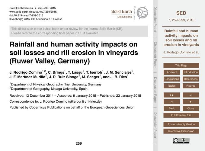Rainfall and Human Activity Impacts on S... by Rodrigo Comino, J.