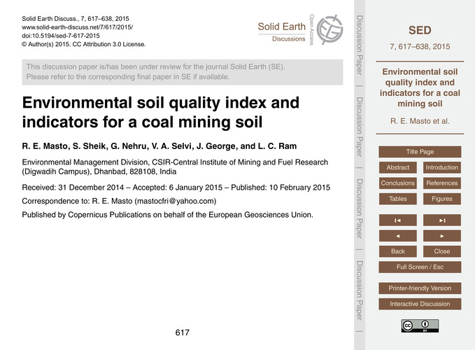 Environmental Soil Quality Index and Ind... by Masto, R. E.