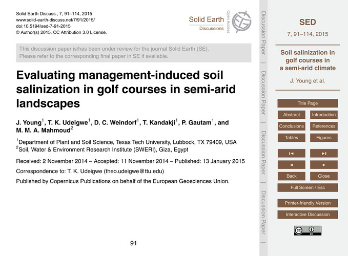 Evaluating Management-induced Soil Salin... by Young, J.