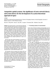 Autopoietic Spatial Systems: the Signifi... by Koch, A.
