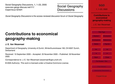 Contributions to Economical Geography-ma... by Van Wezemael, J. E.