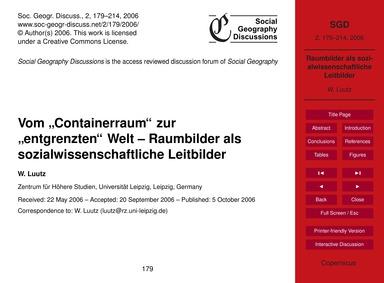 """Vom """"Containerraum"""" Zur """"Entgrenzten"""" We... by Luutz, W."""