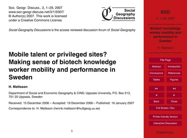 Mobile Talent or Privileged Sites? Makin... by Mattsson, H.