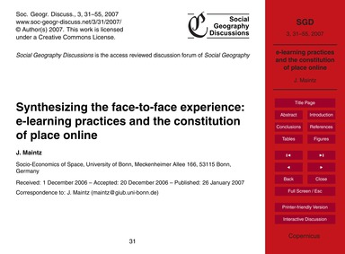 Synthesizing the Face-to-face Experience... by Maintz, J.