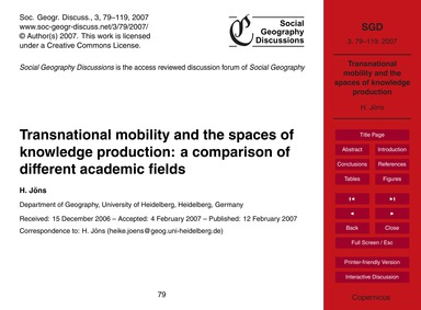 Transnational Mobility and the Spaces of... by Jöns, H.