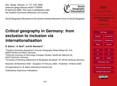 Critical Geography in Germany: from Excl... by Belina, B.
