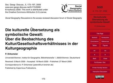 Die Kulturelle Übersetzung Als Symbolisc... by Dirksmeier, P.