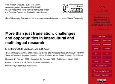 More Than Just Translation: Challenges a... by Crane, L. G.