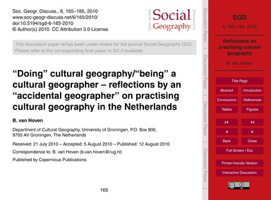 Doing Cultural Geography/Being a Cultura... by Van Hoven, B.