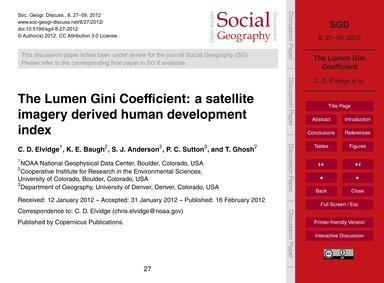 The Lumen Gini Coefficient: a Satellite ... by Elvidge, C. D.