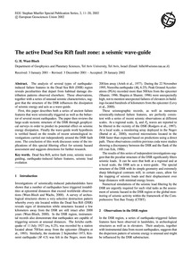 The Active Dead Sea Rift Fault Zone: a S... by Wust-bloch, G. H.