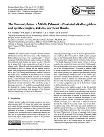 The Tommot Pluton: a Middle Paleozoic Ri... by Trunilina, V. A.