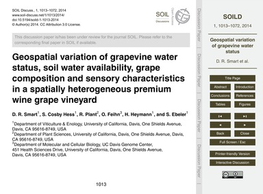 Geospatial Variation of Grapevine Water ... by Smart, D. R.