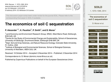 The Economics of Soil C Sequestration : ... by Alexander, P.